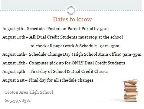 MS/HS Dates to Know-Starting Well