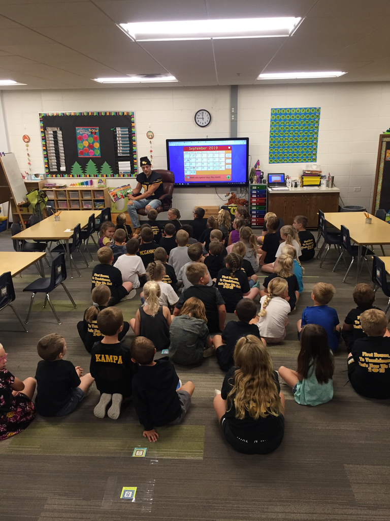 Brody DeHoet taking some time out of his busy day to be the Mystery Reader for our kindergarten students.